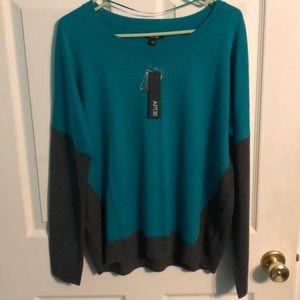 NWT emerald green/charcoal grey Apt 9 sweater Sz L